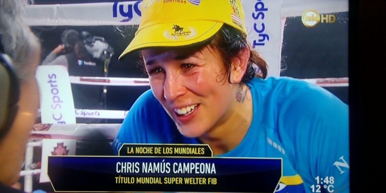 Chris Namús campeona mundial súper welter de la FIB