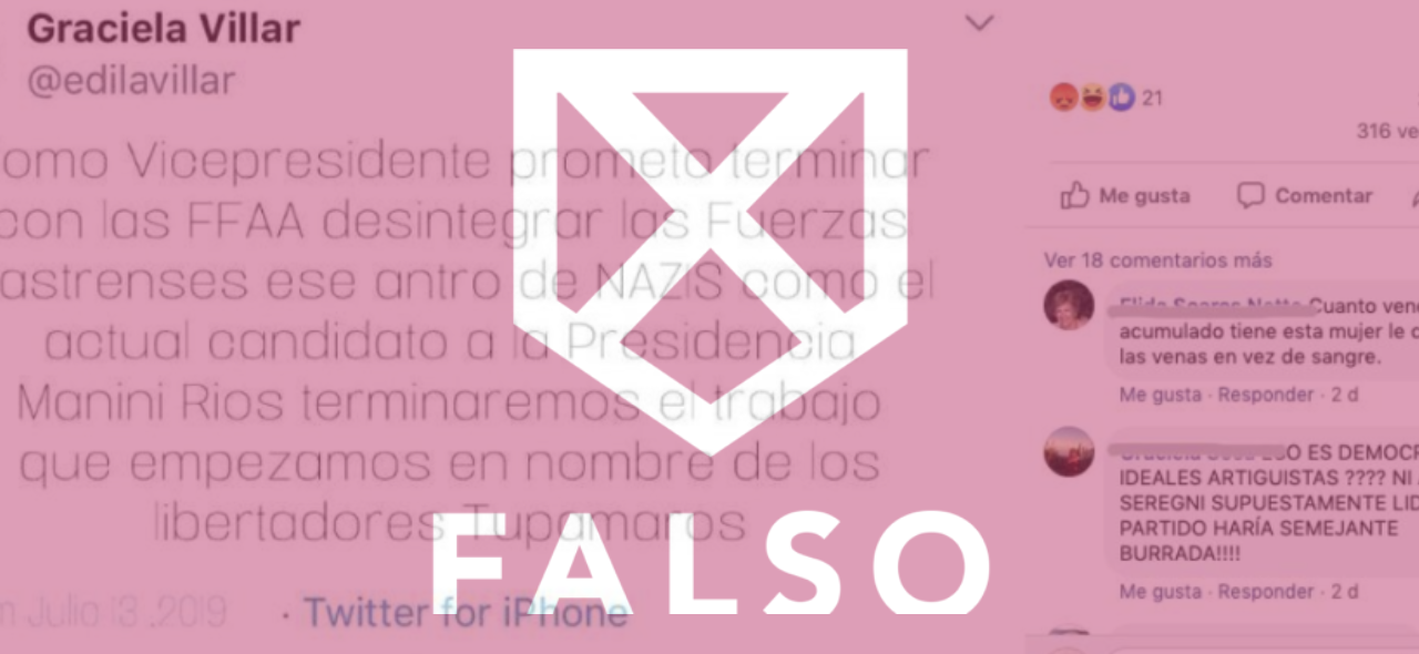 Es falso que Graciela Villar haya escrito un tuit sobre las FFAA, Manini Ríos y Tupamaros