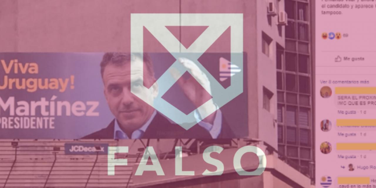 Es falso que Orsi aparezca en un afiche electoral del FA ubicado en Punta Carretas