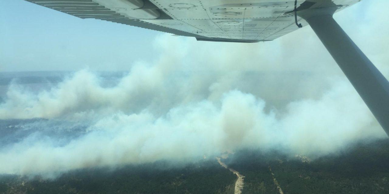 El viento hace que el incendio en La Esmeralda esté lejos de su extinción