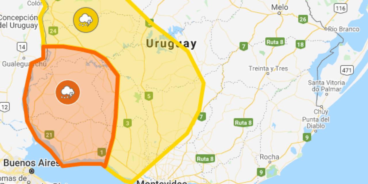 Rige una alerta amarilla y otra naranja por tormentas fuertes