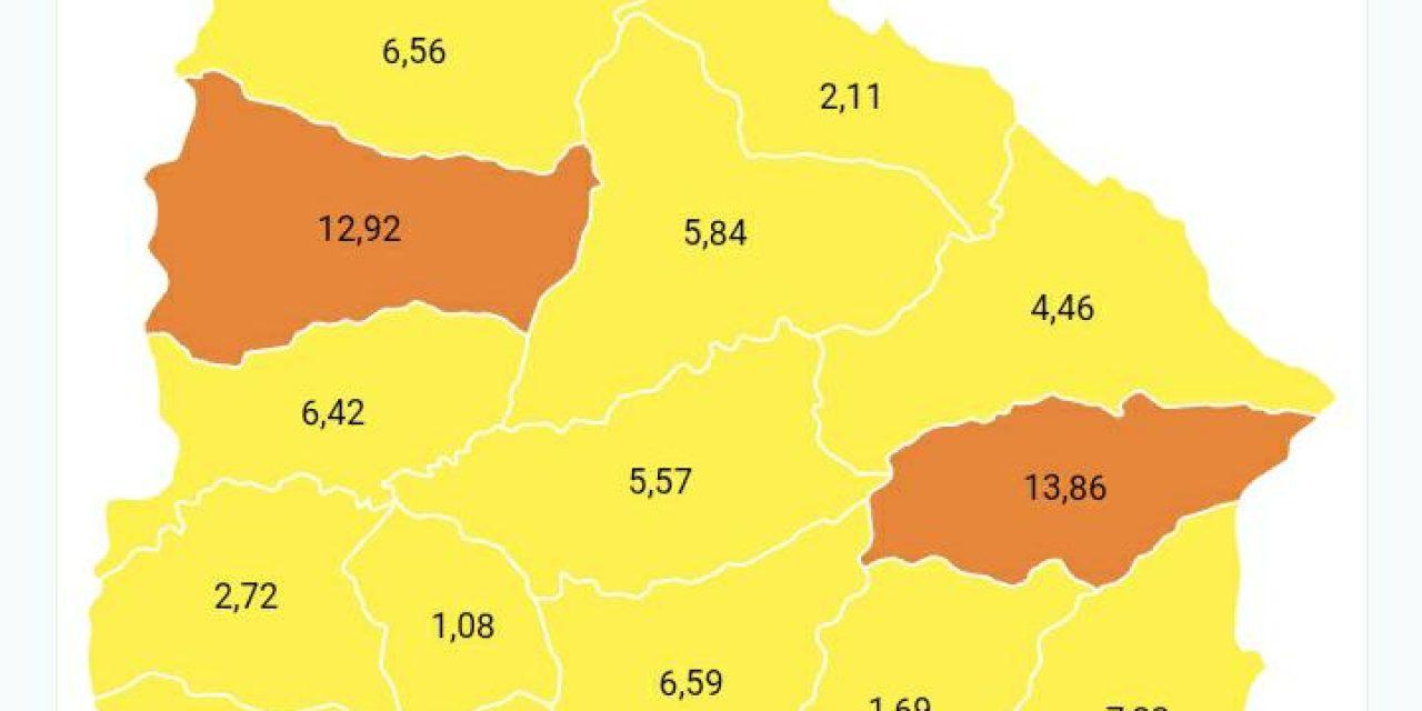 Índice de Harvard:  Paysandú y Treinta y Tres en riesgo de color naranja; el resto del país en amarillo